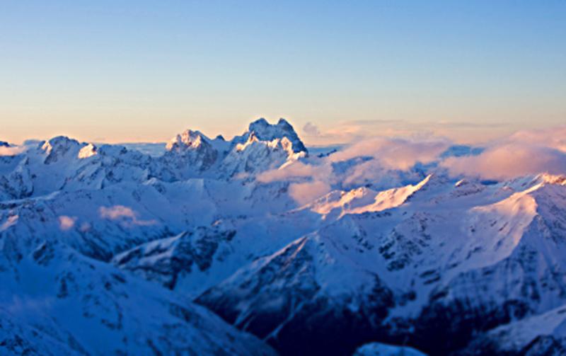 Ushba from Elbrus, Caucasus Mountains